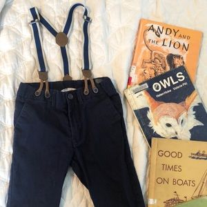 H&M Blue Pants with Striped suspenders 3-4 years